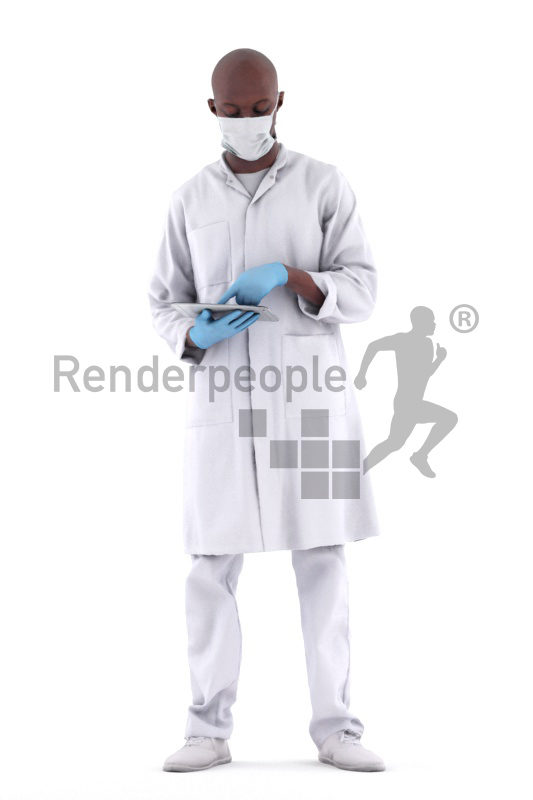 3d people healthcare, black 3d man reading