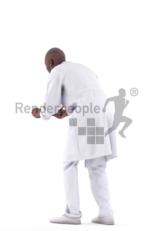 3d people healthcare, black 3d man examining