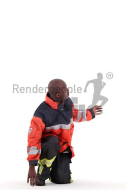 3d people worker, black man crouching and talking