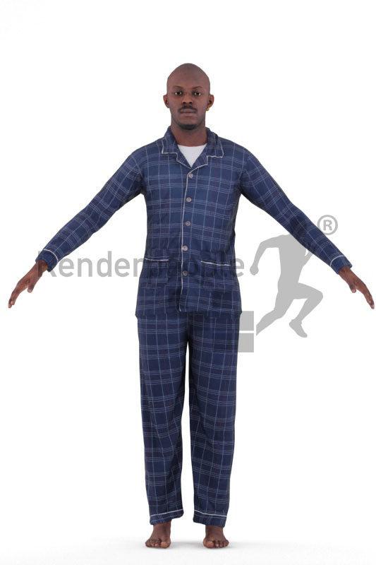 3d people sleepwear, black 3d man rigged