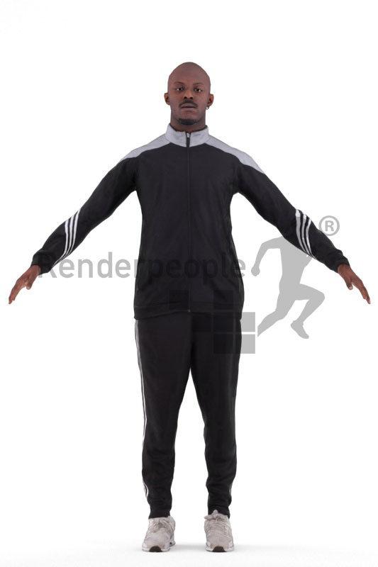 3d people sports, 3d black man rigged