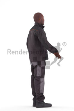 3d people worker, black 3d man rigged