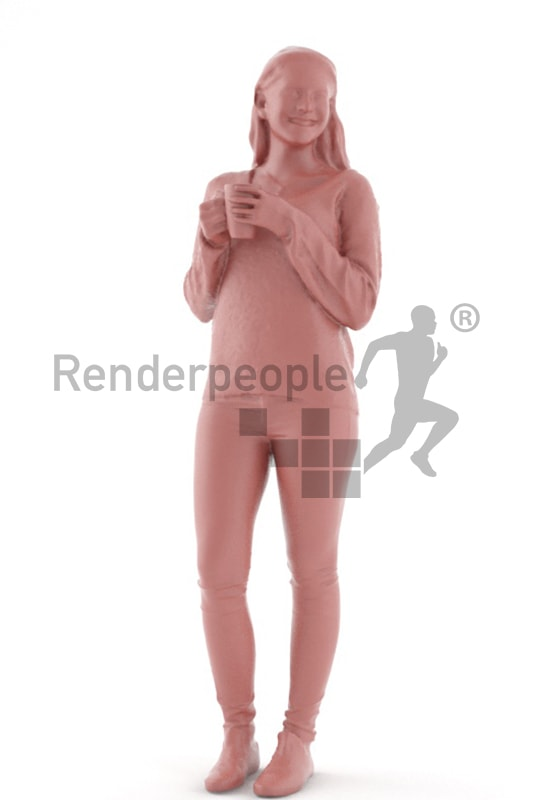 3d people casual, middle eastern 3d woman drinking a coffee