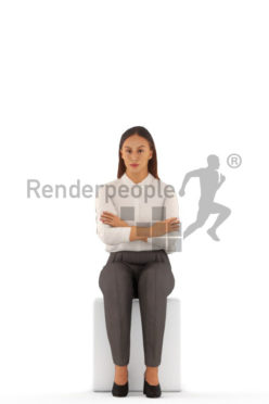Animated 3D People model for Unreal Engine and Unity – european woman in office clothes, sitting