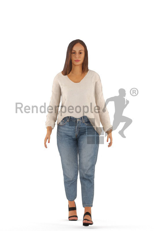 Animated human 3D model by Renderpeople – european woman in casual mom jeans look, walking