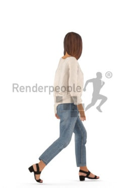 Animated human 3D model by Renderpeople – european woman in casual mom jeans look, walking