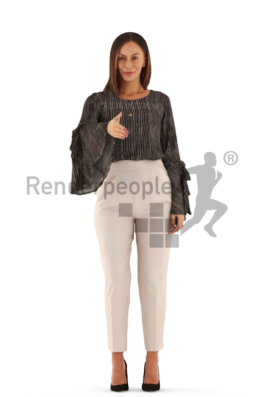 3d people business, white 3d woman standing and shaking hands