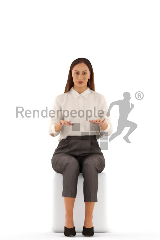 3d people business, white 3d woman sitting and typing