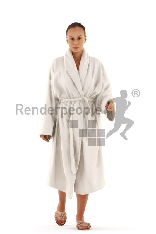 3d people spa, white 3d woman walking in bathrobe