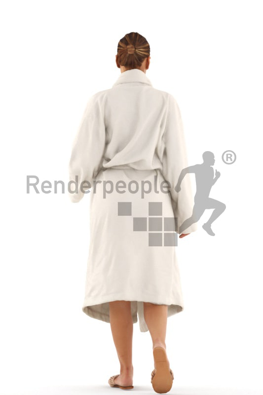3d people spa, white 3d woman walking in bathrobe