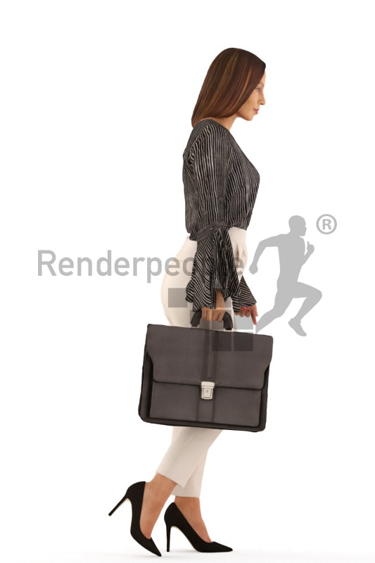 3d people business, white 3d woman walking with a briefcase