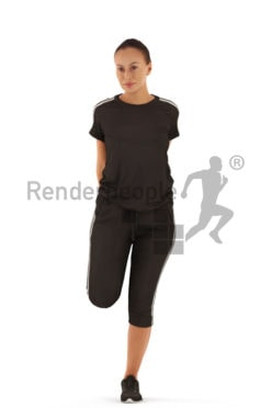 3d people sports, white 3d woman stretching