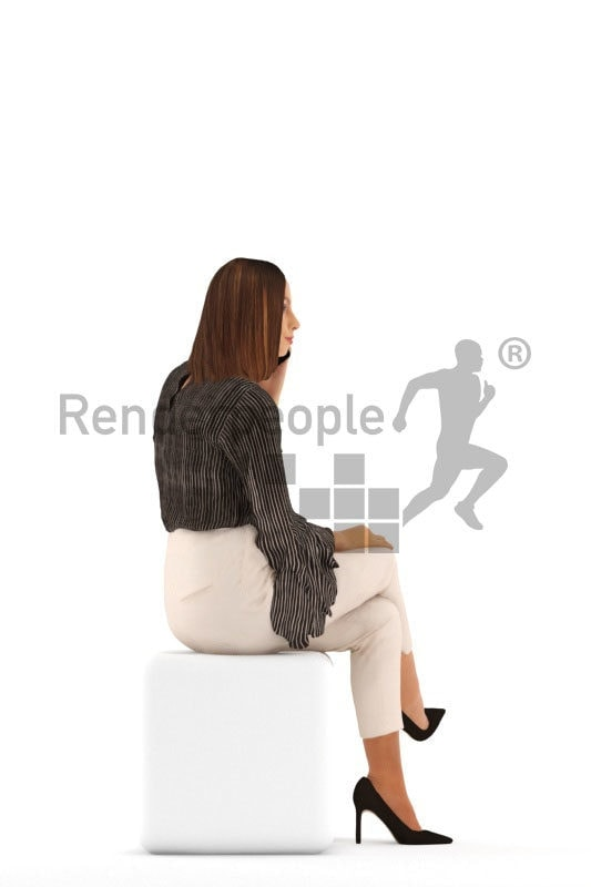 3d people event, white 3d man sitting and calling somebody