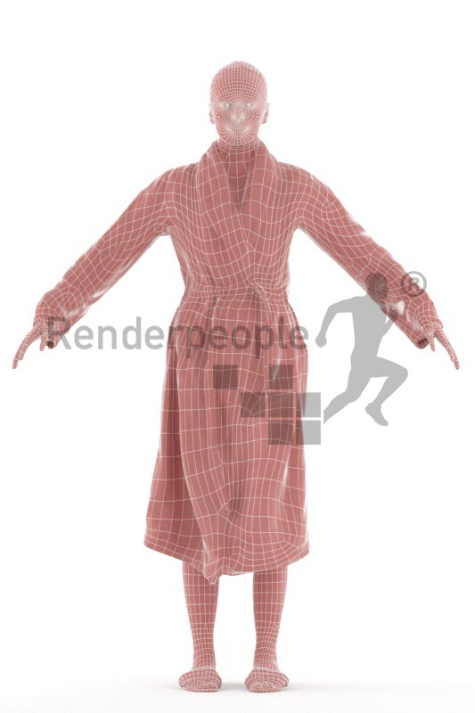 3d people spa, rigged white woman in A Pose