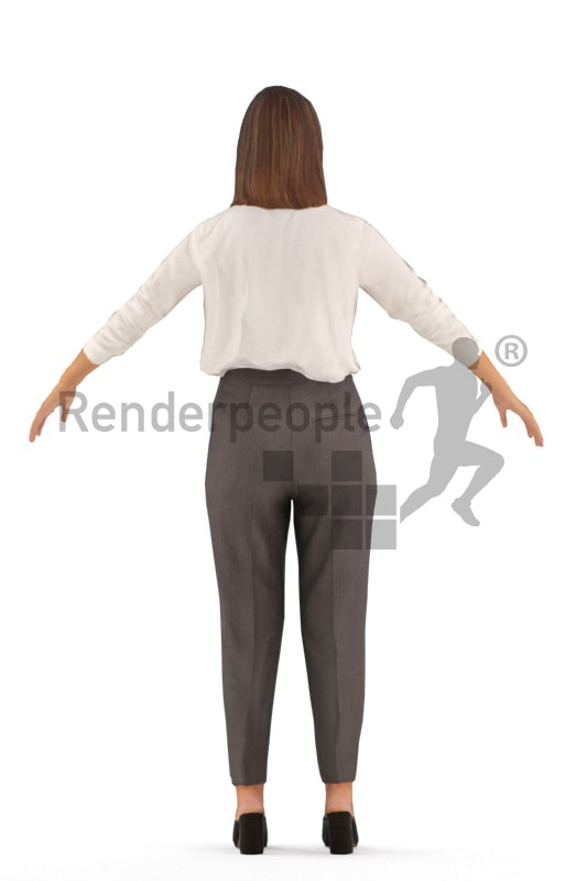 3d people business, rigged white woman in A Pose