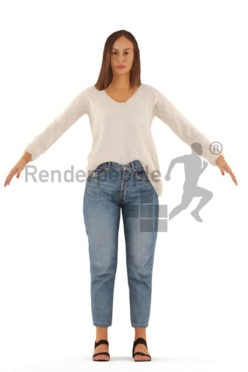 3d people casual, rigged white woman in A Pose