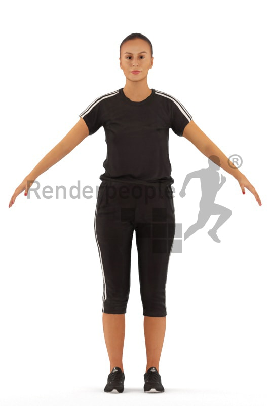3d people sports, rigged white woman in A Pose