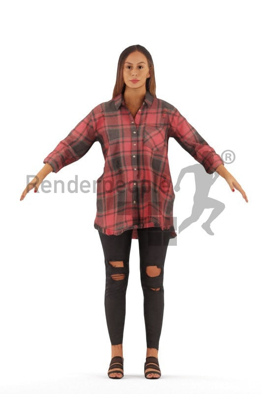 Rigged human 3D model by Renderpeople – european woman, casual style