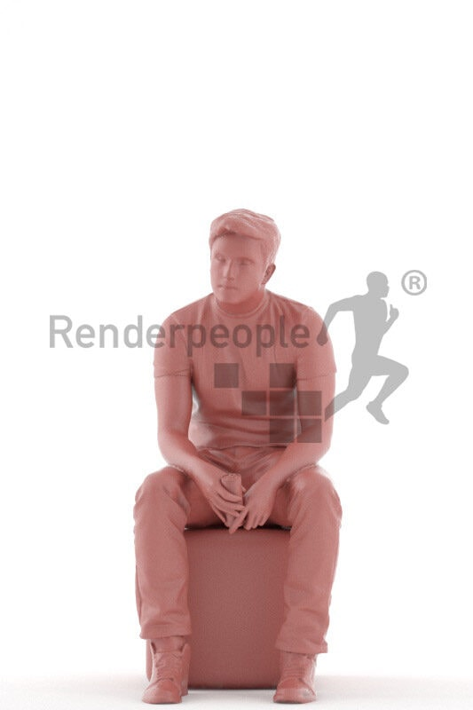 Scanned human 3D model by Renderpeople – european male in casual outfit, sitting and holding energy drink