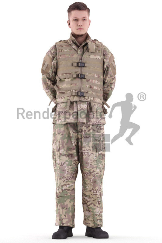 Photorealistic 3D People model by Renderpeople – white man in soldiers outfit, standing and listening