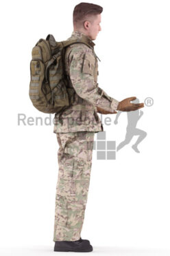 3D People model for 3ds Max and Blender – european male in soldiers outfit, talking and explaining