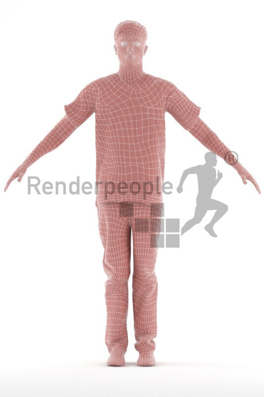 Rigged 3D People model for Maya and Cinema 4D – european man in healtcare dress