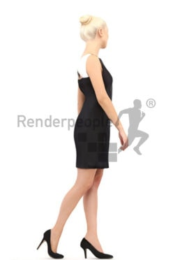 3d people event, white 3d woman in black dress walking