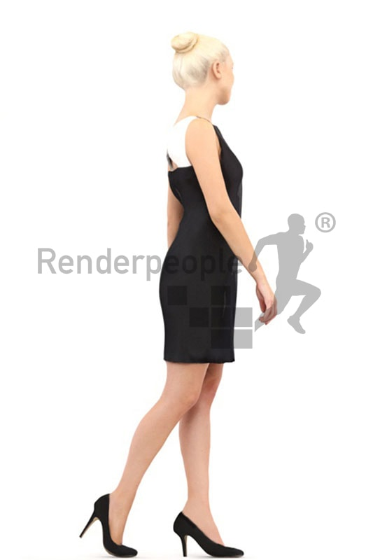 3d people event, white 3d woman in black dress walking