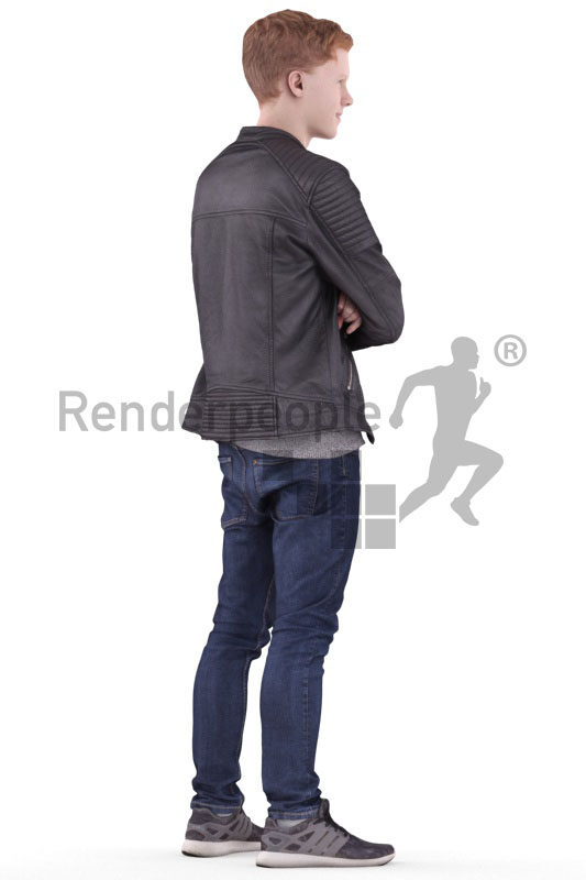 Posed 3D People model by Renderpeople – white man in casual leather jacket