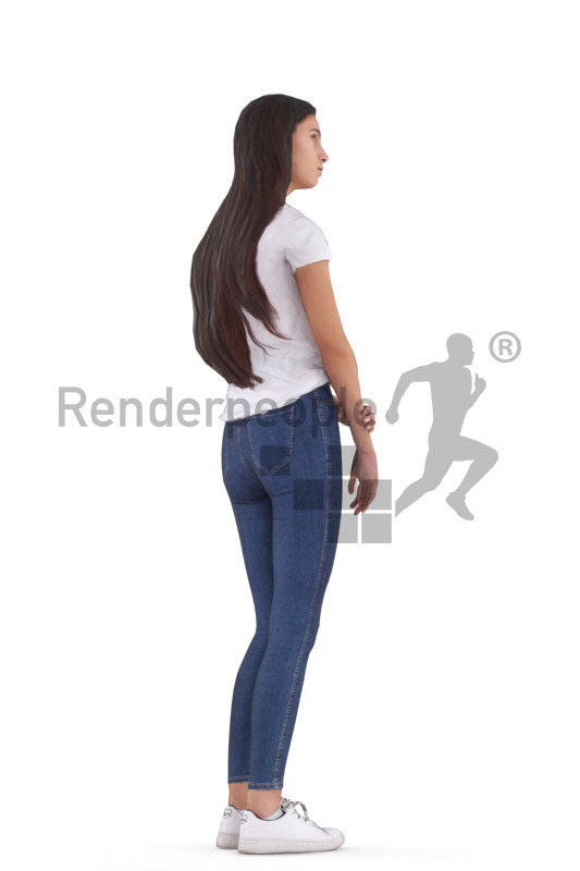 Animated 3D People model for 3ds Max and Maya – european female in daily look, standing