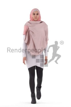 3d people casual, 3d middle eastern woman with hijab, animated