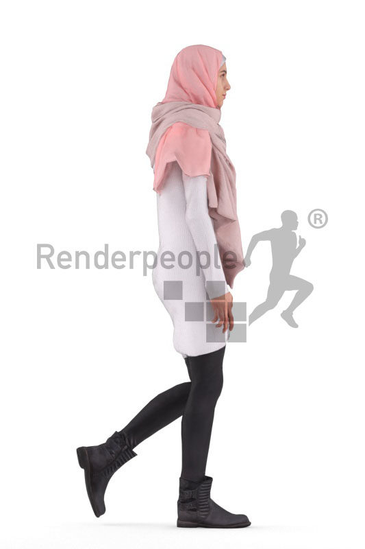3d people casual, 3d middle eastern woman with hijab