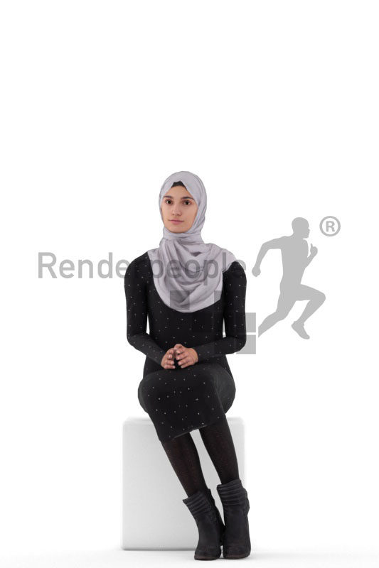 Animated human 3D model by Renderpeople – middle eastern woman with hijab, sitting