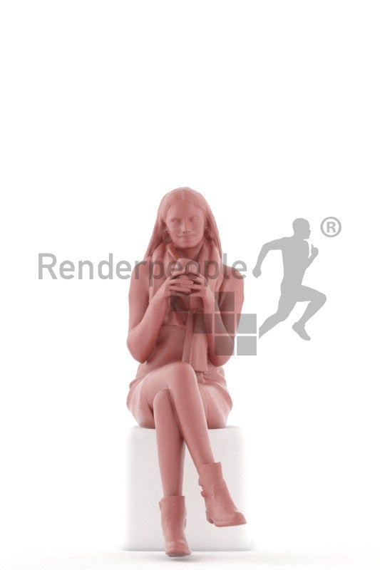 3D People model for 3ds Max and Sketch Up – european woman, sitting and drinking coffee