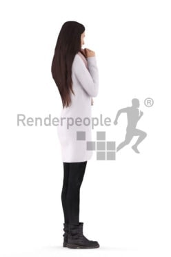 Posed 3D People model by Renderpeople – european woman, putting on a scarf