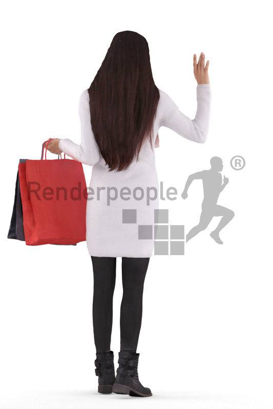 3D People model for 3ds Max and Cinema 4D – european woman, walking with shopping bags and saluting