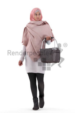 3D People model for 3ds Max and Cinema 4D – woman with hijab, walking with a basket