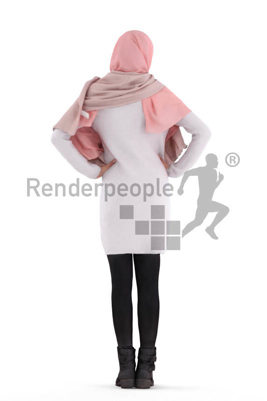 3D People model for 3ds Max and Cinema 4D – woman with hijab, standing