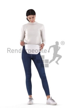 Posed 3D People model by Renderpeople – whitw woman, casual, mixing something in a bowl
