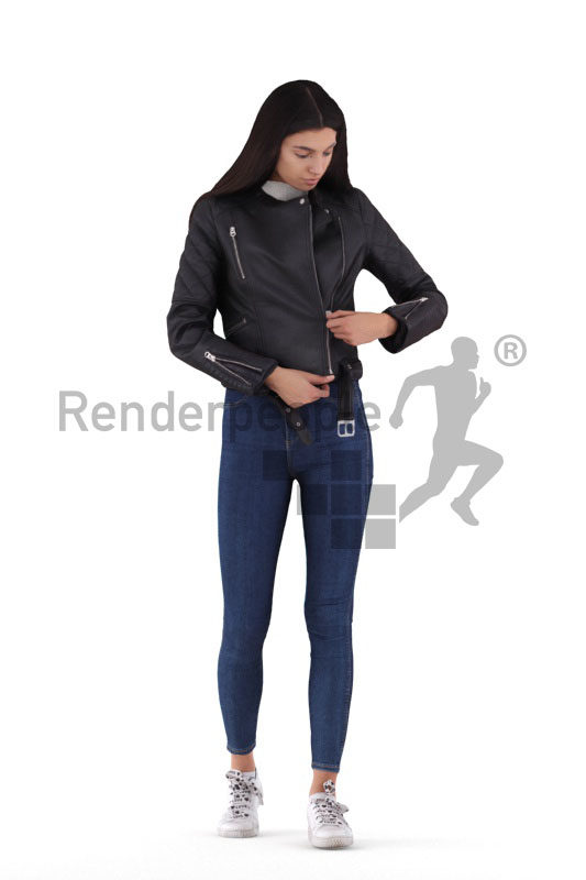 Scanned human 3D model by Renderpeople – european woman, casual /outdoor