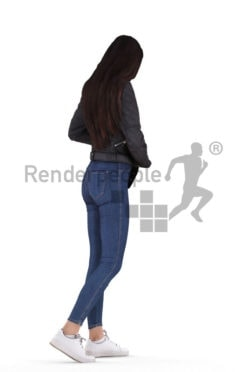 Scanned human 3D model by Renderpeople – european woman, casual /outdoor