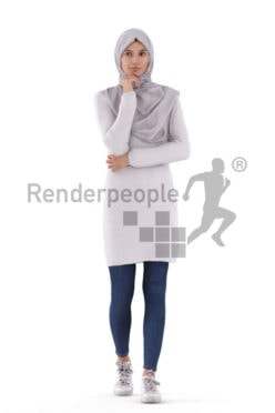 Posed 3D People model by Renderpeople – white woman in a hijab, walking