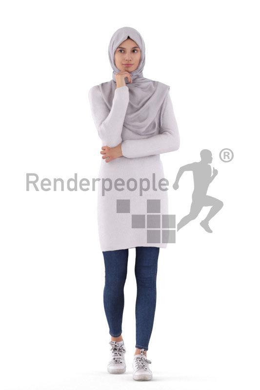 Posed 3D People model by Renderpeople – white woman in a hijab, walking