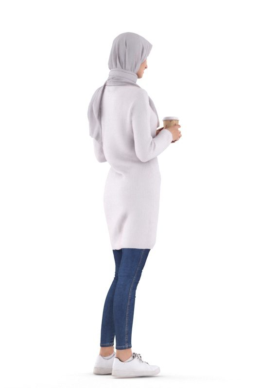 Posed 3D People model by Renderpeople – white woman in a hijab