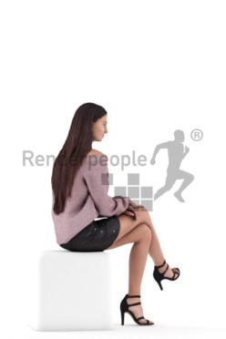 Posed 3D People model for renderings – middle eastern woman in event look, sitting and smiling