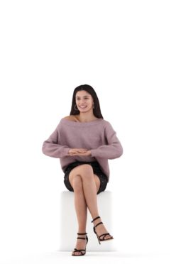 Posed 3D People model for renderings – white woman, event outfit, sitting and talking