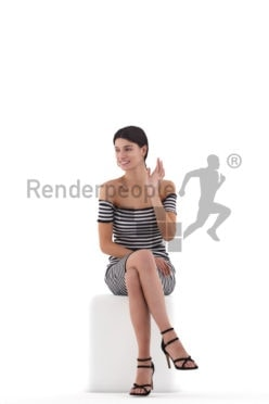 3D People model for 3ds Max and Blender – european woman, sitting and saluting, event