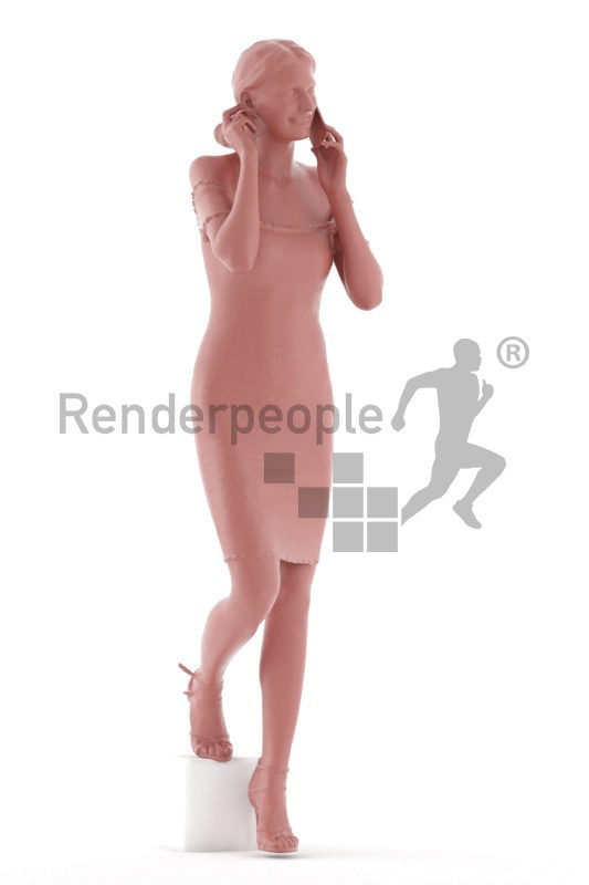 Posed 3D People model for visualization – white woman, walking upsairs and calling, event