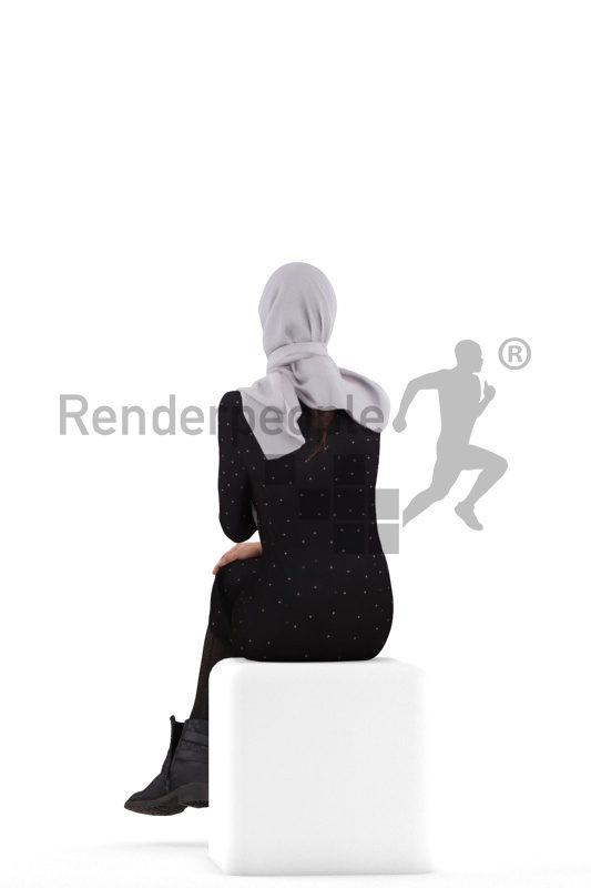 Posed 3D People model for renderings – woman with hijab, sitting and interacting
