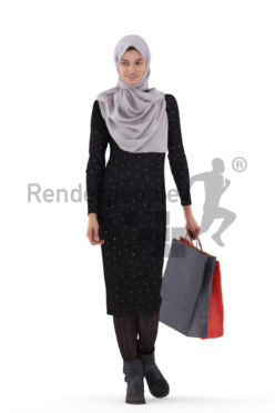 3D People model for 3ds Max and Blender – woman in hijab, with shopping bags